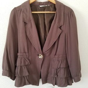 Ambition Cropped Ruffle Hem Lined Brown Blazer